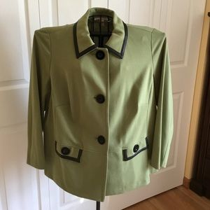 JM Collection blazer w/faux leather trim